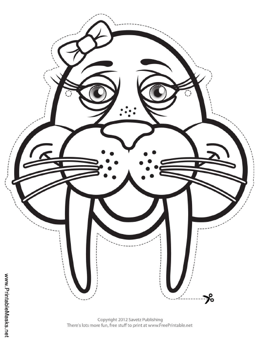 """""""Walrus With Bow Outline Mask Template"""" Download Pdf"""