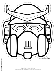 """""""Robot With Horns Outline Mask Template"""""""