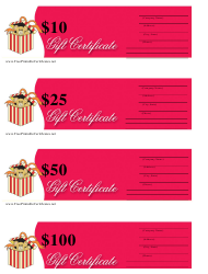 10, 25, 50 & 100 Dollar Gift Certificate Template