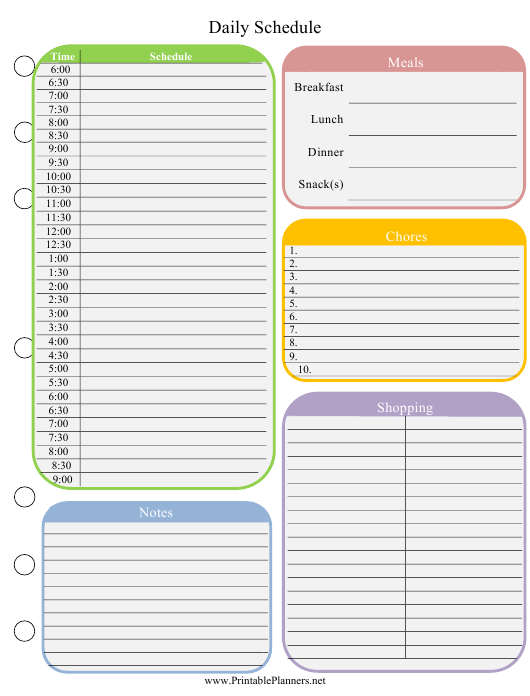 """""""Colorful Daily Schedule Template"""" Download Pdf"""