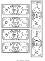 """Classroom Currency One Dollar Bill Template"""
