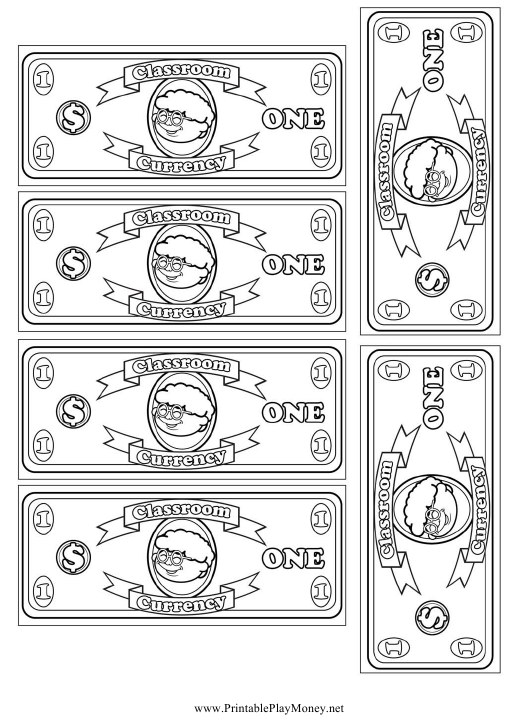 Classroom Currency One Dollar Bill Template Download Printable Pdf