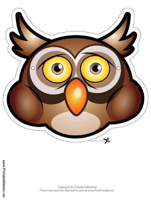 """Owl Mask Template"" Download Pdf"