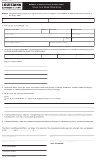 "Form R-8350SF ""Affidavit of Refund Check Endorsement Forgery for a Single Filing Status"" - Louisiana"