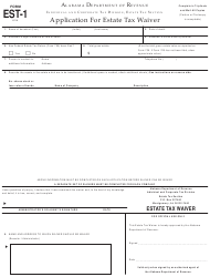 "Form EST-1 ""Application for Estate Tax Waiver"" - Alabama"