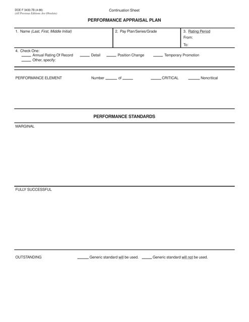 DOE Form 3430.7B  Printable Pdf