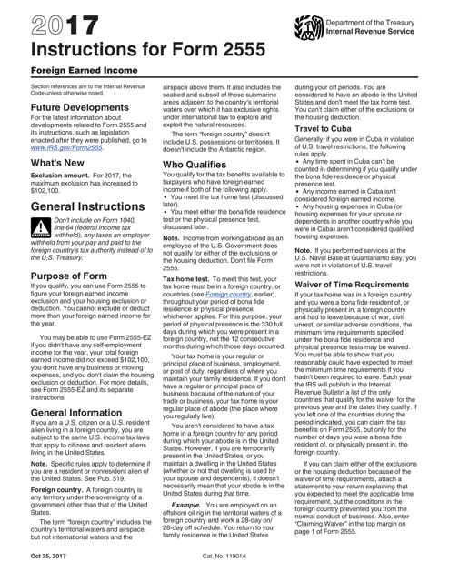 IRS Form 2555 2017 Printable Pdf