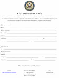 Form NY-27 Veteran of the Month