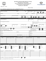 "Form EPID200 ""Kentucky Reportable Disease Form"" - Kentucky"