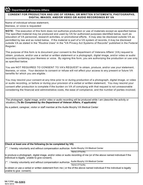 VA Form 10-3203 Printable Pdf