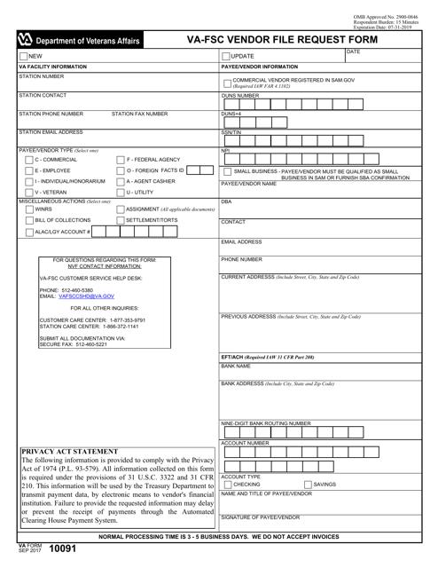 VA Form 10091 Fillable Pdf