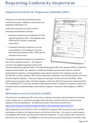 Instructions for Faa Form 8120-10 - Request for Conformity