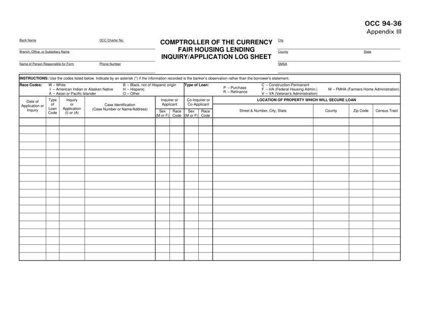 form occ 94 application log sheet