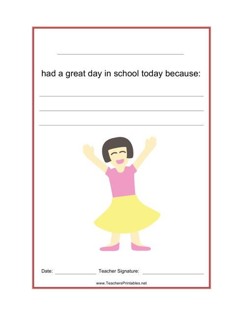 """""""Great School Day Feedback Form"""" Download Pdf"""