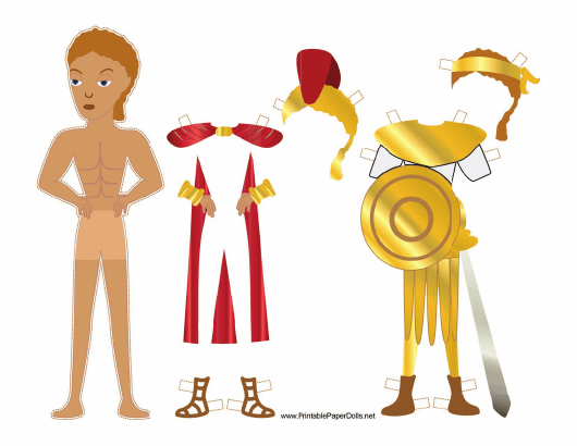 """""""Roman Soldier Paper Doll Template"""" Download Pdf"""