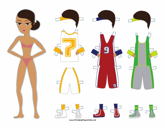 """""""Female Basketball Player Paper Doll Template"""" Download Pdf"""