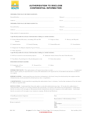 "Form DH3203 ""Authorization to Disclosure Confidential Information"" - Florida"
