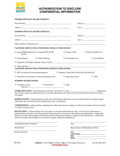 Form DH3203  Printable Pdf