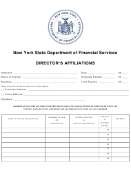 """""""Director's Affiliations Form"""" - New York"""