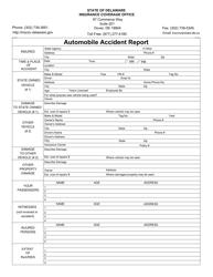 Automobile Accident Report Form - Delaware