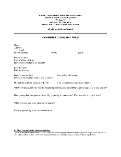 Sample Consumer Complaint Form | Consumer Complaint Form Download Printable Pdf Templateroller
