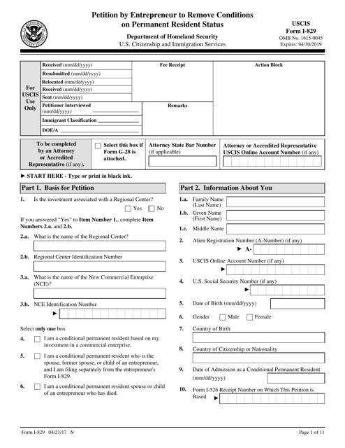 USCIS Form I-829 Printable Pdf