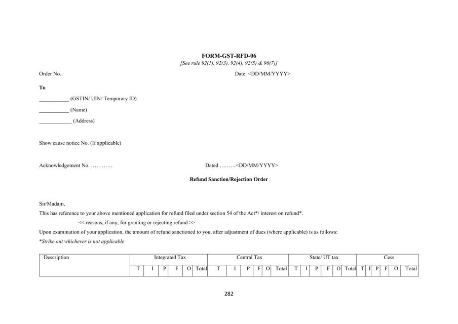 Form GST-RFD-06 Printable Pdf