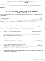 """Form 22.5 """"Application to Settle a Claim of an Adult Ward"""" - Ohio"""