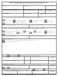 DD Form 2992 Medical Recommendation for Flying or Special Operational Duty