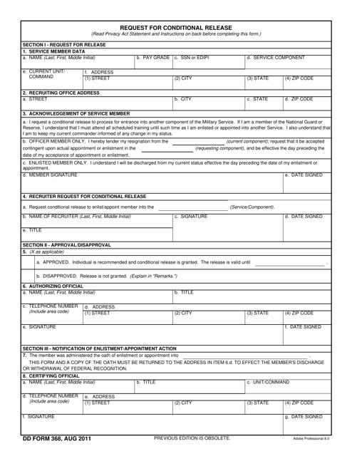 DD Form 368  Printable Pdf