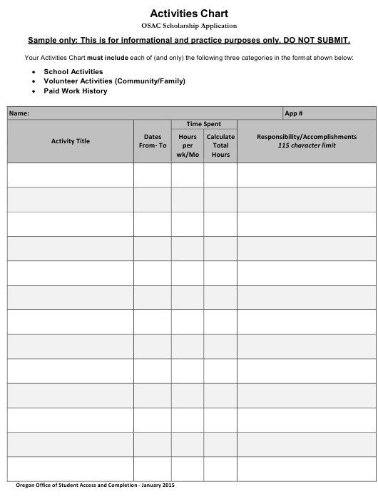 """""""Activities Chart Template for Students"""" Download Pdf"""