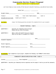 Community Service Project Proposal Form