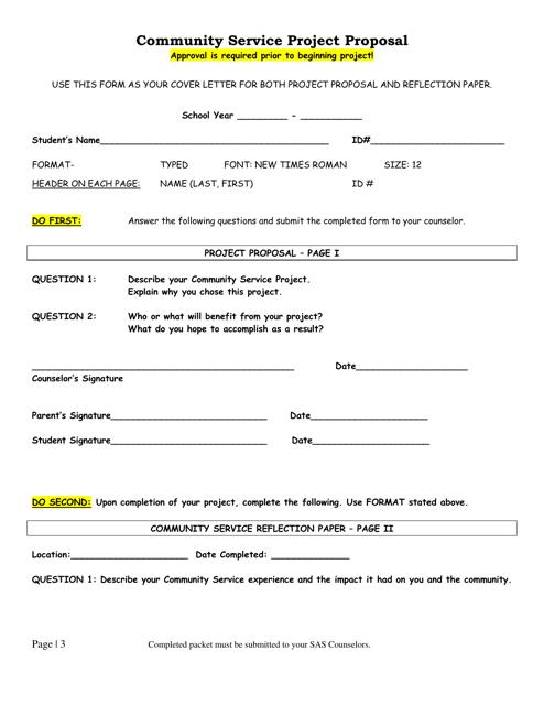 """Community Service Project Proposal Form"" Download Pdf"
