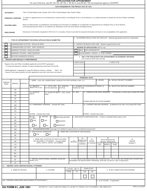 DA Form 61 Fillable Pdf