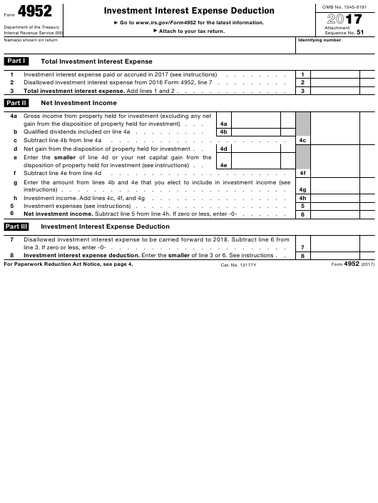 IRS Form 4952 2017 Fillable Pdf