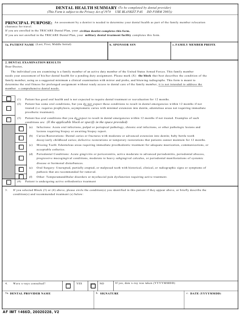 AF IMT Form 1466D  Printable Pdf