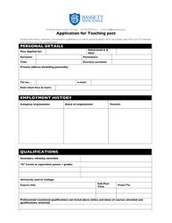 Application Form For Teaching Post - Bassett House School - United Kingdom
