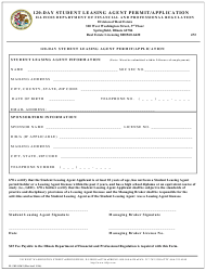 "Form IL505-0362 ""120-day Student Leasing Agent Permit/Application"" - Illinois"
