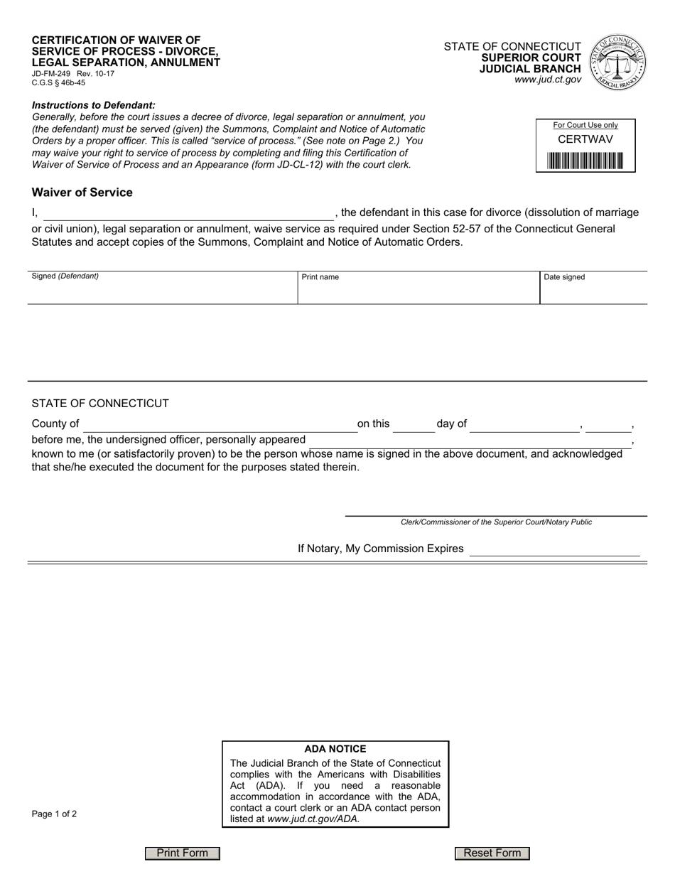 waiver process form divorce certification fm legal annulment separation pdf templateroller jd connecticut template