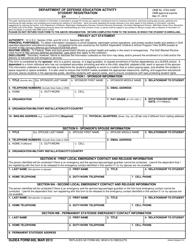"DoDEA Form 600 ""Department of Defense Education Activity Student Registration"""