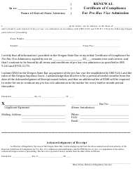 """""""Renewal Form for Certificate of Compliance for Pro Hac Vice Admission"""" - Oregon"""