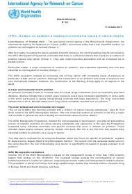 Press Release #221, Outdoor Air Pollution a Leading Environmental Cause of Cancer Deaths - World Health Organization International Agency for Research on Cancer