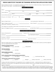 """""""Ddess Substitute Teacher or Training Instructor Application Form"""""""