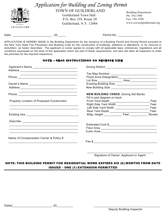 """Application Form for Building and Zoning Permit"" - Town of Guilderland, New York Download Pdf"