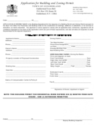 Application Form for Building and Zoning Permit - Town of Guilderland, New York