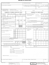 GSA STANDARD Form 1150 Record Of Leave Data