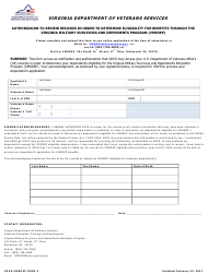 """Form 2 """"Authorizaion to Review Records in Order to Determine Eligibility for Benefits Through the Virginia Military Survivors and Dependents Program (Vmsdep)"""" - Virginia"""