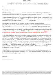 """Letter to Employee: Cfra Leave Taken After Pdl/Fmla"" - California"