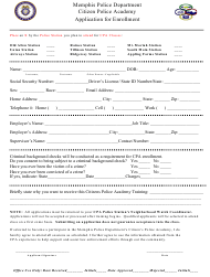 """""""Application for Enrollment - Citizen Police Academy"""" - Memphis, Tennessee"""