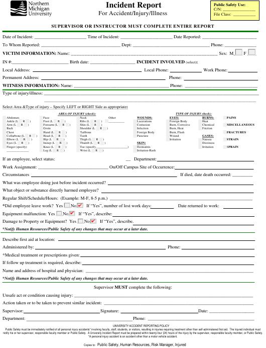 """""""Incident Report Form for Accident/Injury/Illness - Northern Michigan University"""" Download Pdf"""